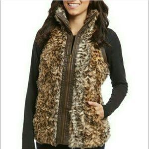 Faux fur and faux leather Vest